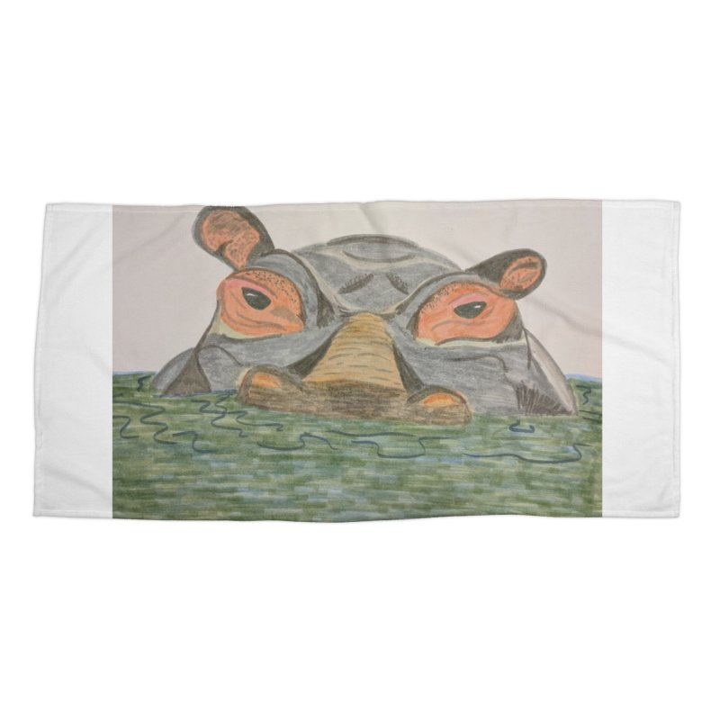 Hippo Accessories Beach Towel by Whimsical Wildlife Wares