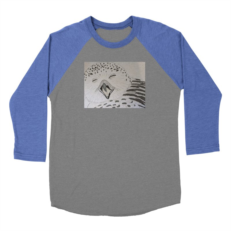 Laughing Owl Women's Baseball Triblend T-Shirt by Whimsical Wildlife Wares