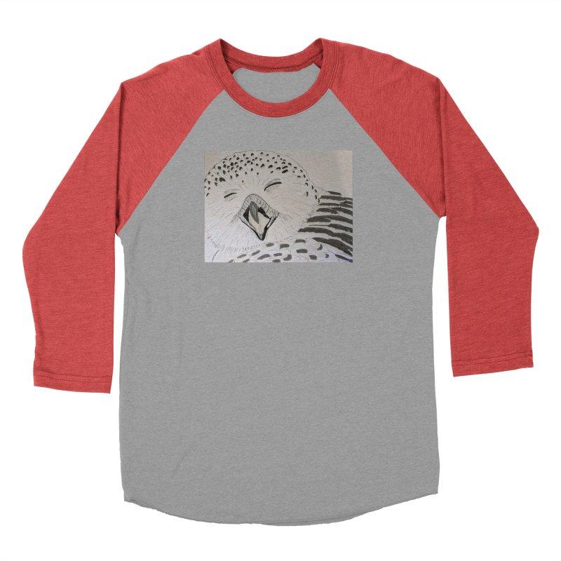 Laughing Owl Women's Baseball Triblend T-Shirt by Whimsical Wildlife Wares
