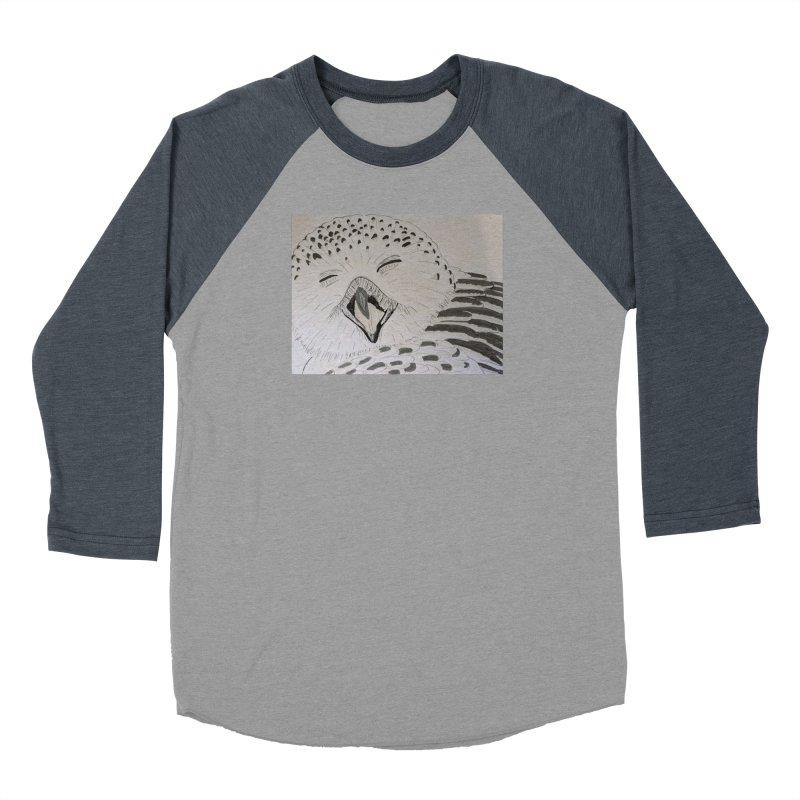 Laughing Owl Men's Baseball Triblend T-Shirt by Whimsical Wildlife Wares