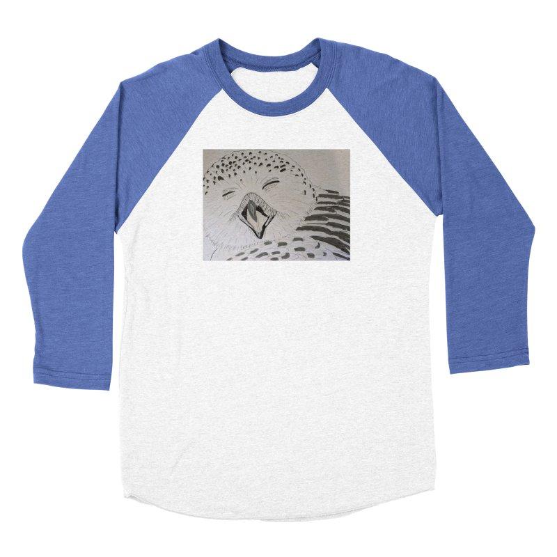 Laughing Owl Men's Baseball Triblend T-Shirt by Whimsical Wildlife Wares