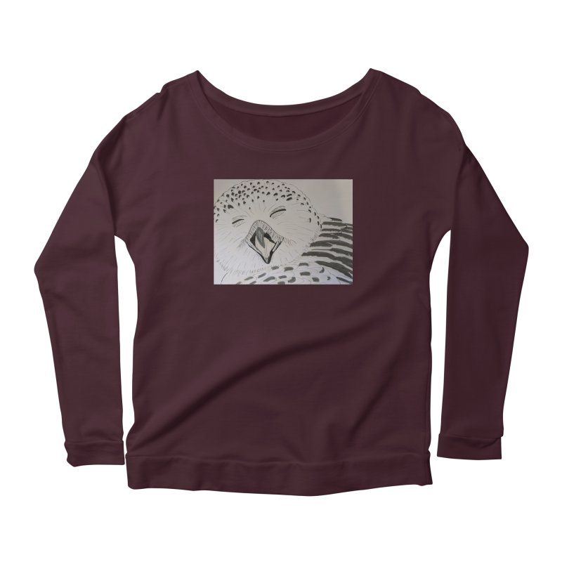 Laughing Owl Women's Longsleeve Scoopneck  by Whimsical Wildlife Wares