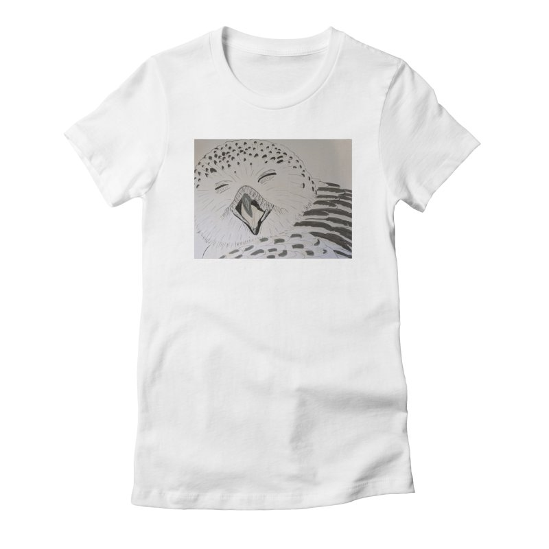 Laughing Owl Women's Fitted T-Shirt by Whimsical Wildlife Wares
