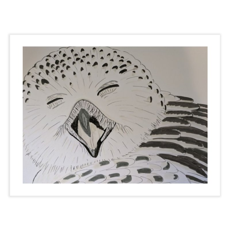 Laughing Owl Home Fine Art Print by Whimsical Wildlife Wares