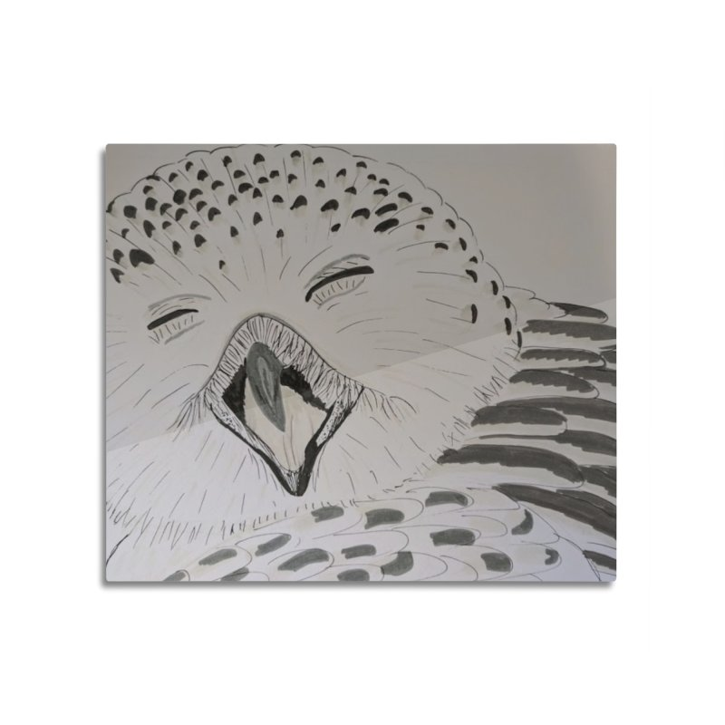 Laughing Owl Home Mounted Aluminum Print by Whimsical Wildlife Wares