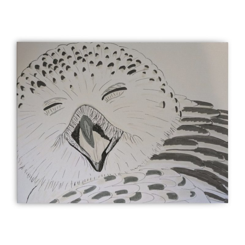Laughing Owl Home Stretched Canvas by Whimsical Wildlife Wares