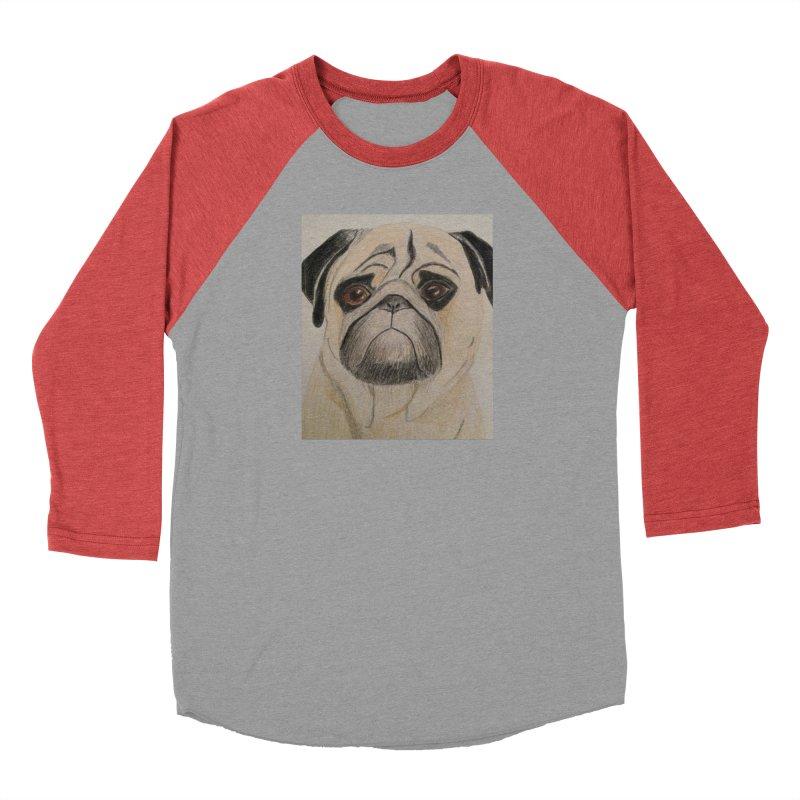 Pug Women's Baseball Triblend T-Shirt by Whimsical Wildlife Wares