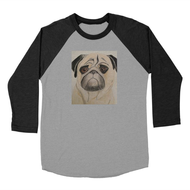 Pug Women's Baseball Triblend T-Shirt by Whimsical Wildlife Wares