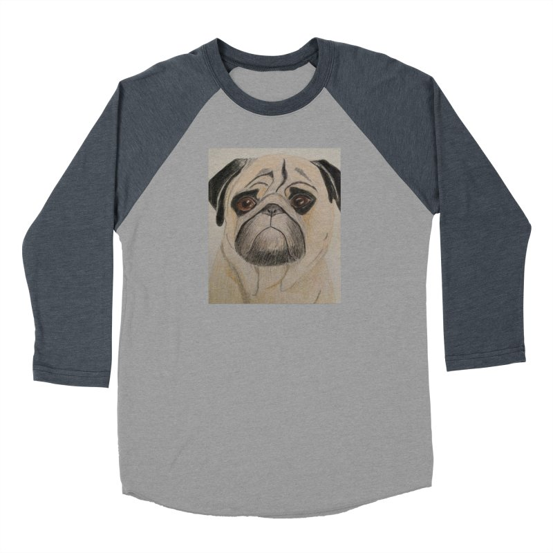 Pug Men's Baseball Triblend T-Shirt by Whimsical Wildlife Wares