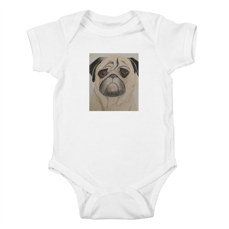 Pug Kids Baby Bodysuit by Whimsical Wildlife Wares