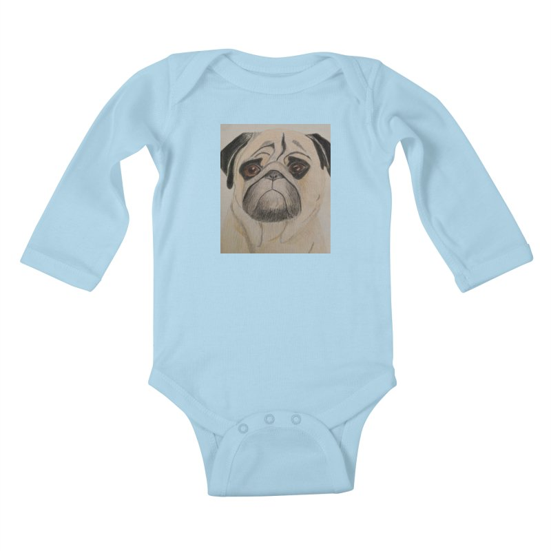 Pug Kids Baby Longsleeve Bodysuit by Whimsical Wildlife Wares