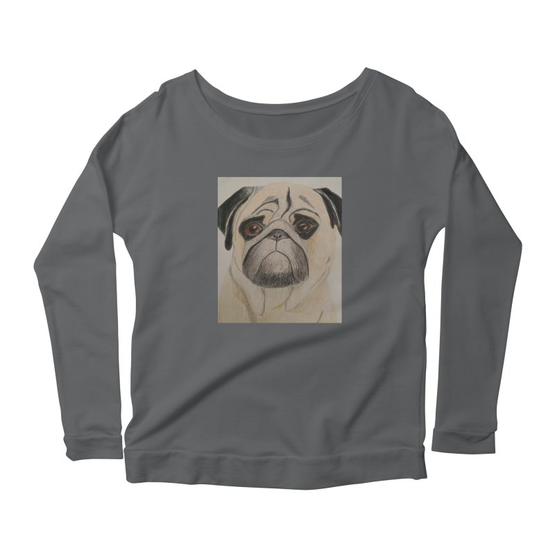 Pug Women's Longsleeve Scoopneck  by Whimsical Wildlife Wares