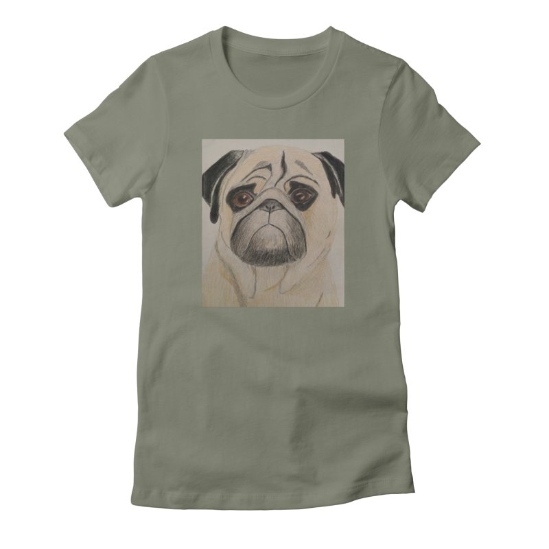 Pug Women's Fitted T-Shirt by Whimsical Wildlife Wares