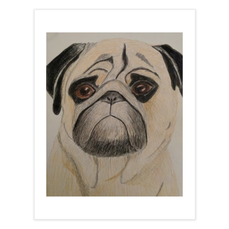 Pug Home Fine Art Print by Whimsical Wildlife Wares