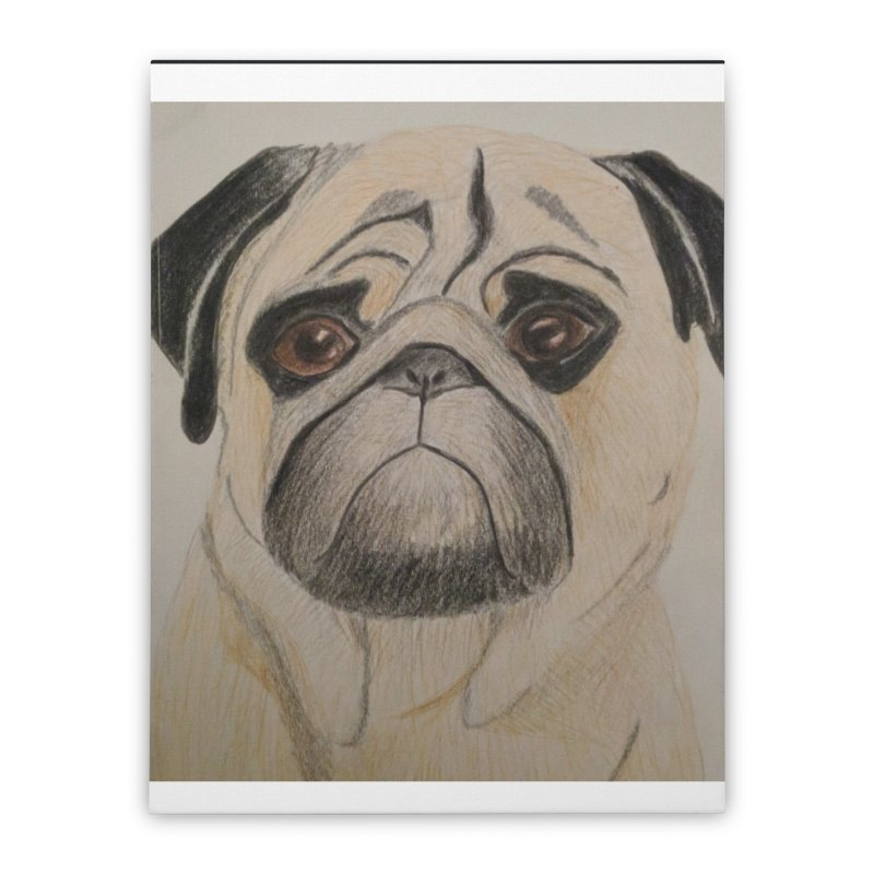 Pug Home Stretched Canvas by Whimsical Wildlife Wares