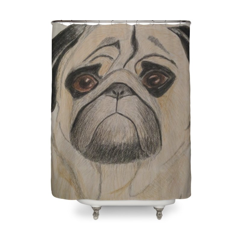 Pug Home Shower Curtain by Whimsical Wildlife Wares