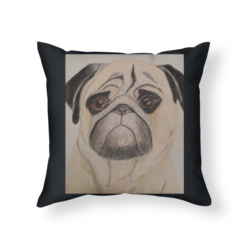 Pug Home Throw Pillow by Whimsical Wildlife Wares