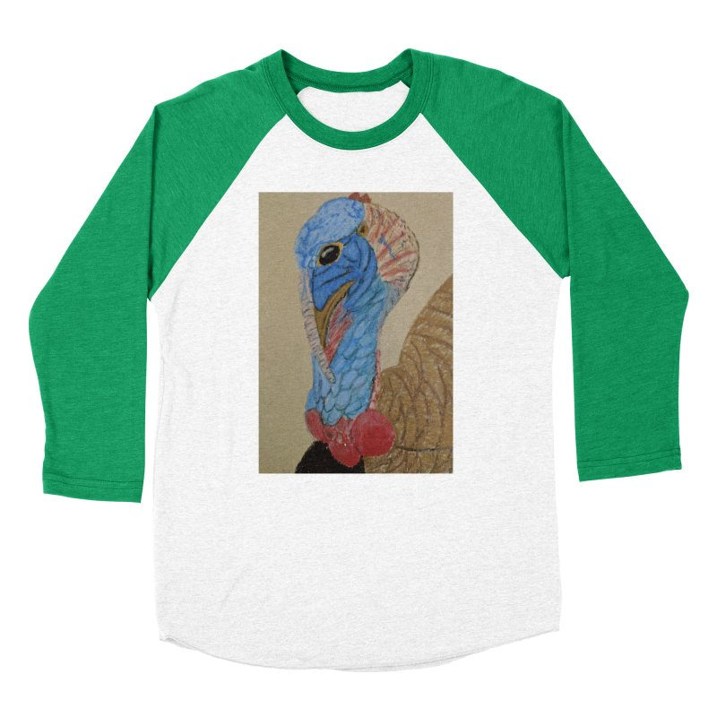 Turkey Men's Baseball Triblend T-Shirt by Whimsical Wildlife Wares