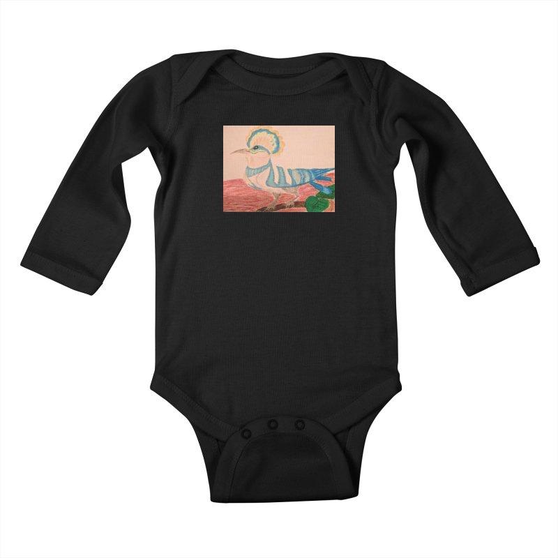 River Hoopoe Kids Baby Longsleeve Bodysuit by Whimsical Wildlife Wares