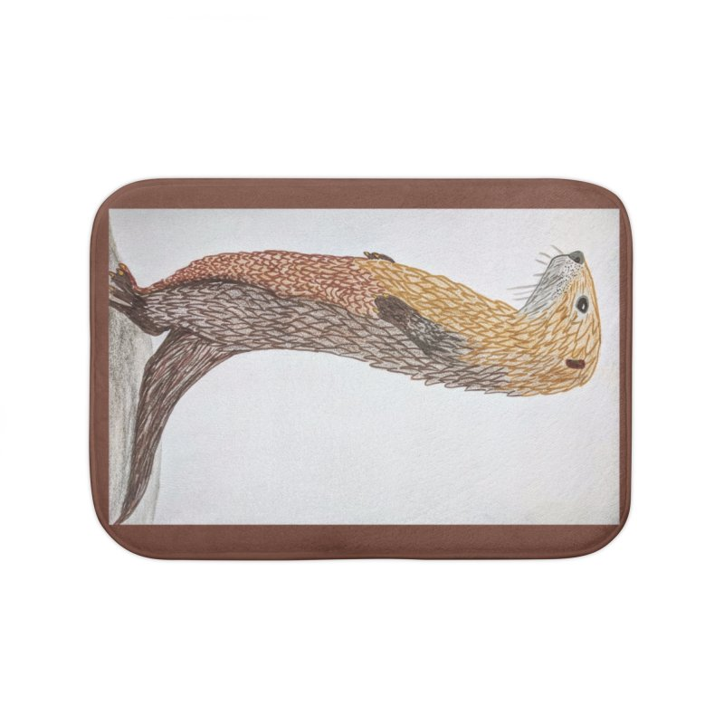 Otter Sentinel Home Bath Mat by Whimsical Wildlife Wares