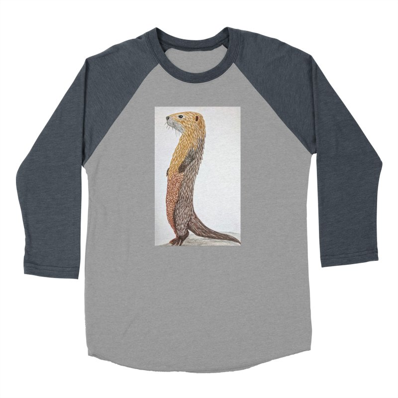 Otter Sentinel Women's Baseball Triblend T-Shirt by Whimsical Wildlife Wares