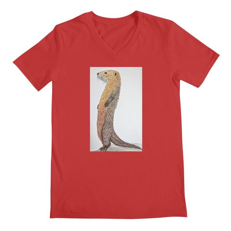Otter Sentinel Men's V-Neck by Whimsical Wildlife Wares
