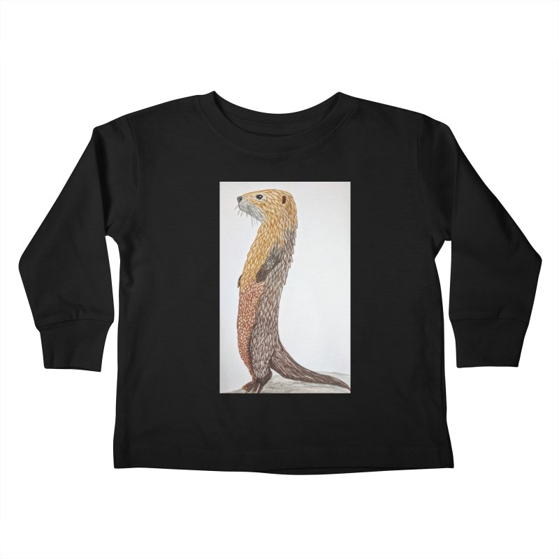 Otter Sentinel Kids Toddler Longsleeve T-Shirt by Whimsical Wildlife Wares
