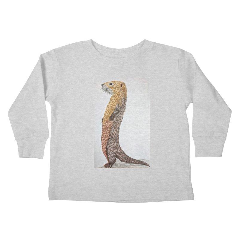 Otter Sentinel Kids Toddler Longsleeve T-Shirt by Whimsical Wildlife Wares