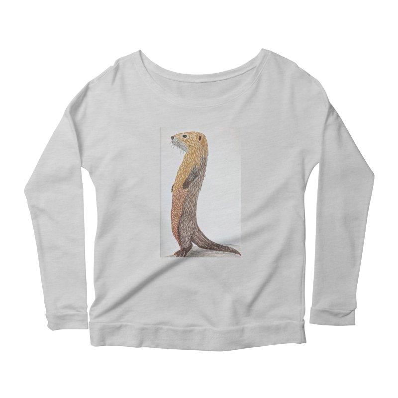 Otter Sentinel Women's Longsleeve Scoopneck  by Whimsical Wildlife Wares