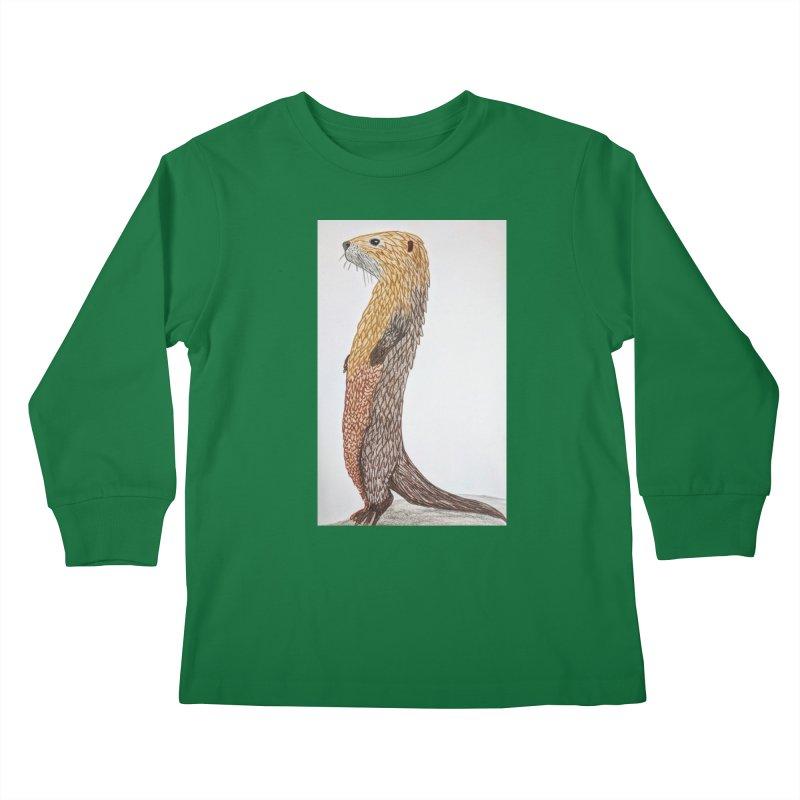 Otter Sentinel Kids Longsleeve T-Shirt by Whimsical Wildlife Wares