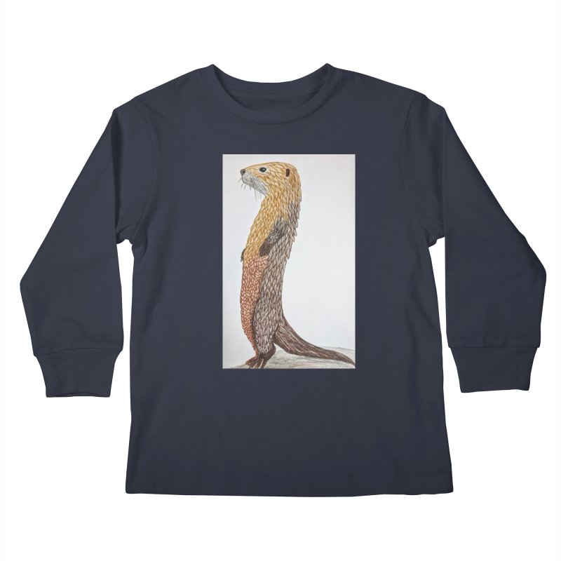 Otter Sentinel Kids Longsleeve T-Shirt by Whimsical Wildlife Wares