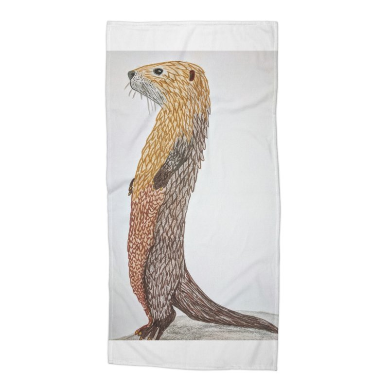 Otter Sentinel Accessories Beach Towel by Whimsical Wildlife Wares