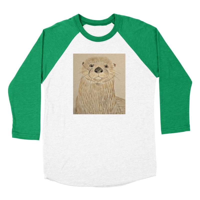 Otter Women's Baseball Triblend T-Shirt by Whimsical Wildlife Wares