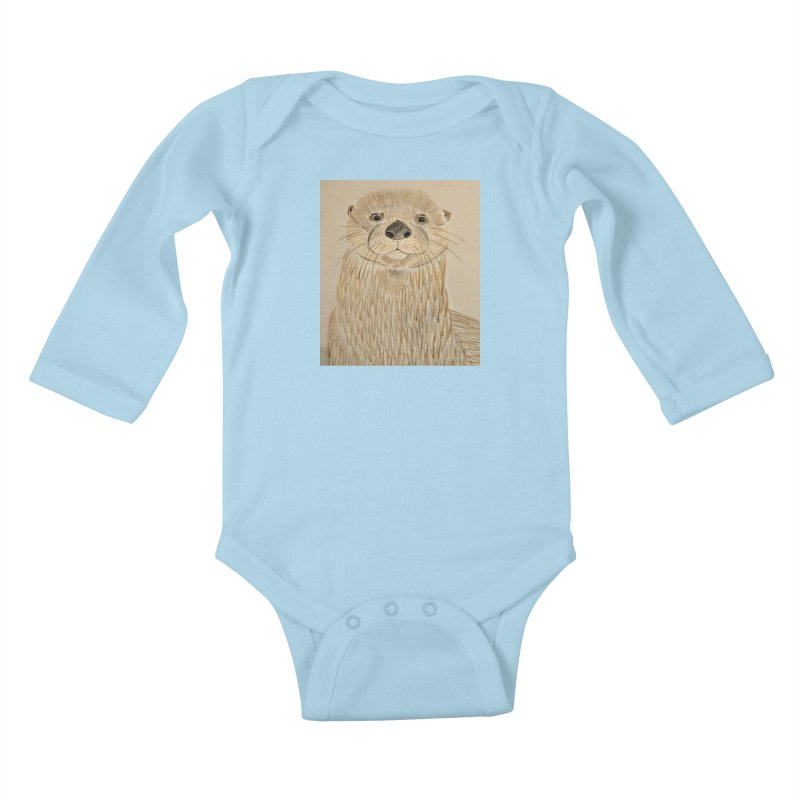 Otter Kids Baby Longsleeve Bodysuit by Whimsical Wildlife Wares