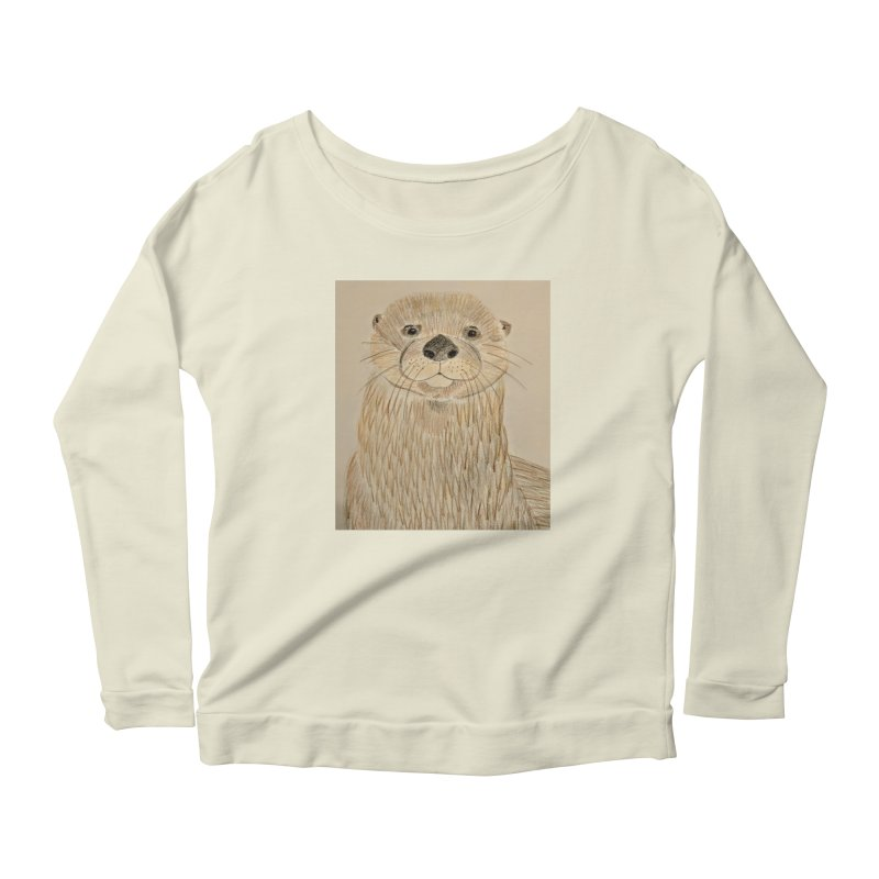 Otter Women's Longsleeve Scoopneck  by Whimsical Wildlife Wares