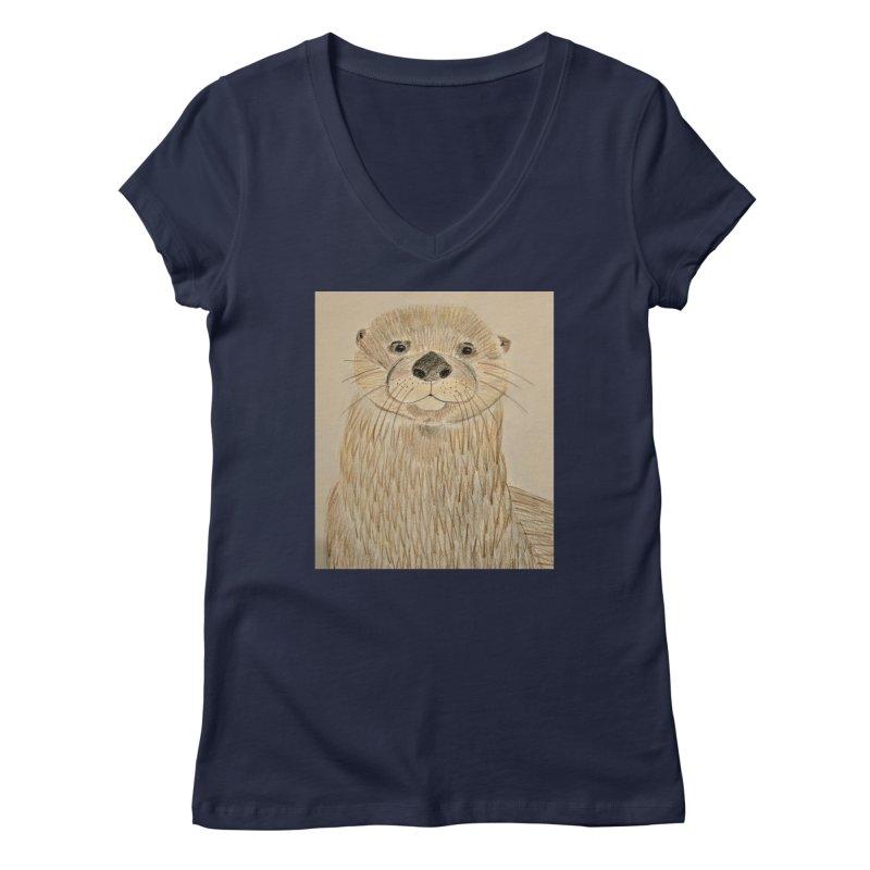 Otter Women's V-Neck by Whimsical Wildlife Wares