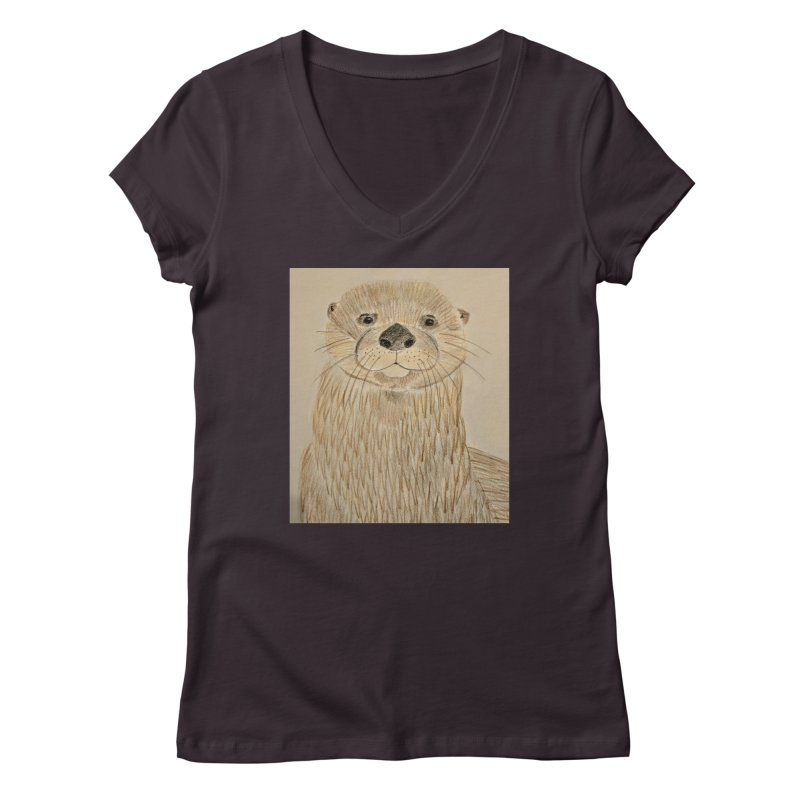 Otter Women's V-Neck by Whimsical Wildlife Wares