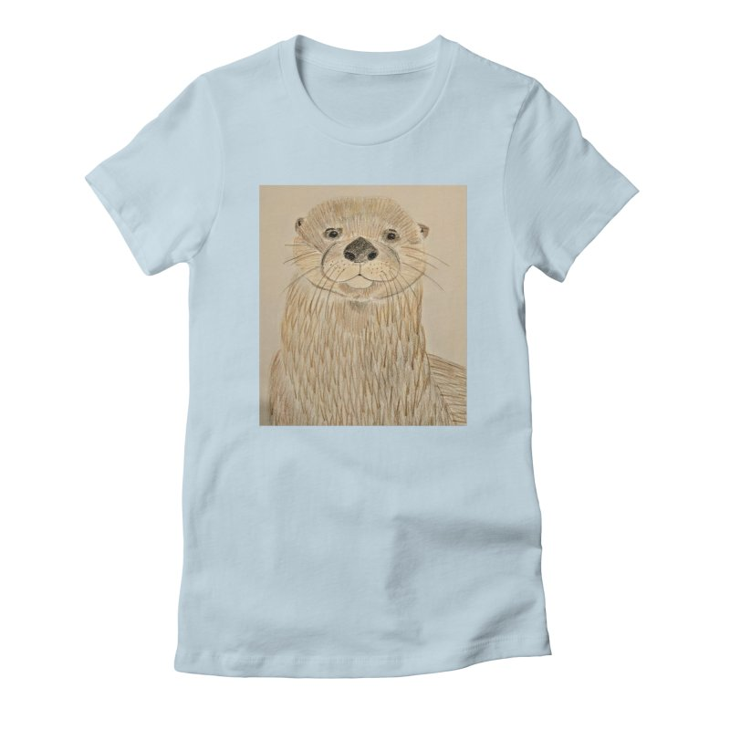 Otter Women's Fitted T-Shirt by Whimsical Wildlife Wares