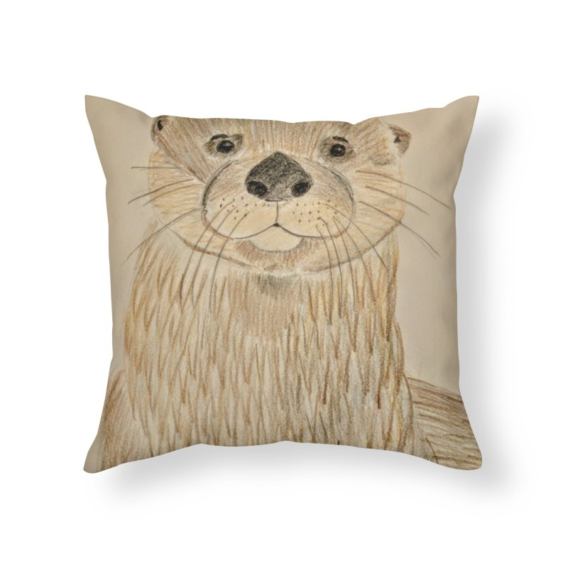Otter Home Throw Pillow by Whimsical Wildlife Wares