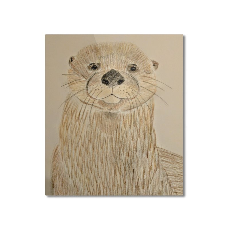 Otter Home Mounted Aluminum Print by Whimsical Wildlife Wares