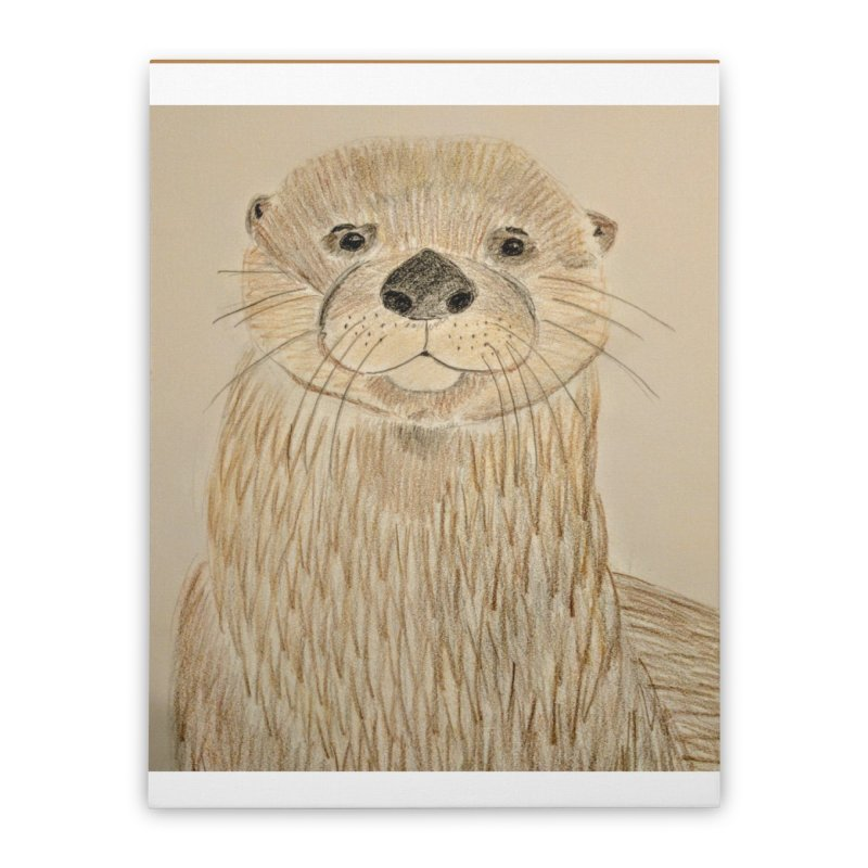 Otter Home Stretched Canvas by Whimsical Wildlife Wares