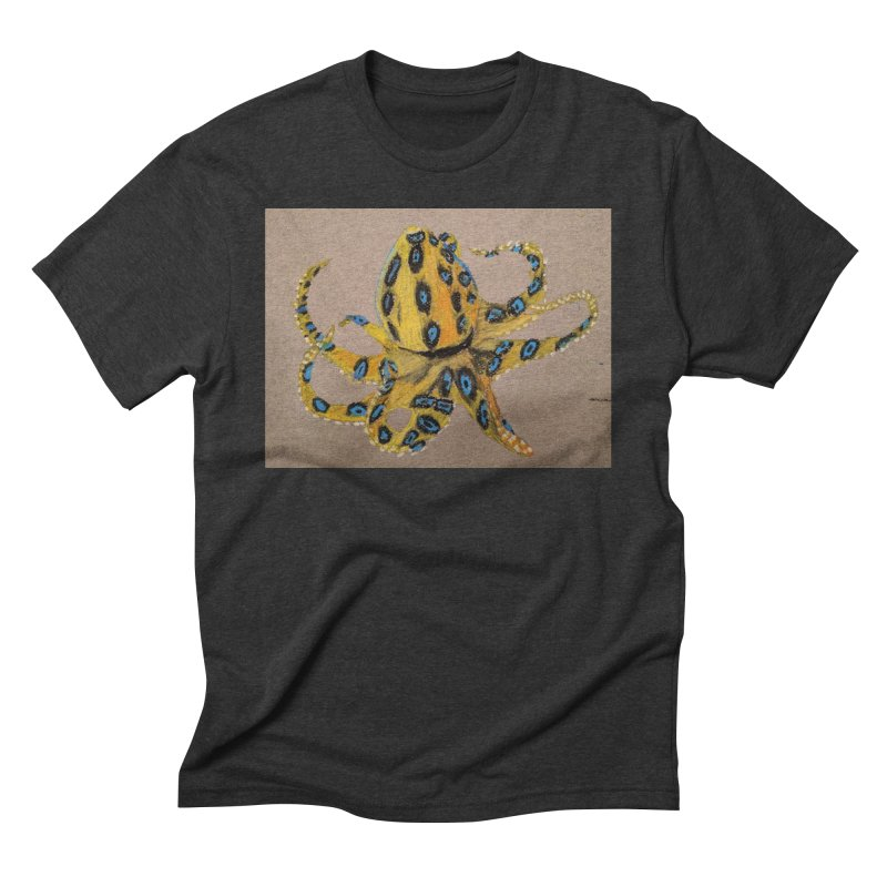 Blue-Ringed Octopus Men's Triblend T-Shirt by Whimsical Wildlife Wares