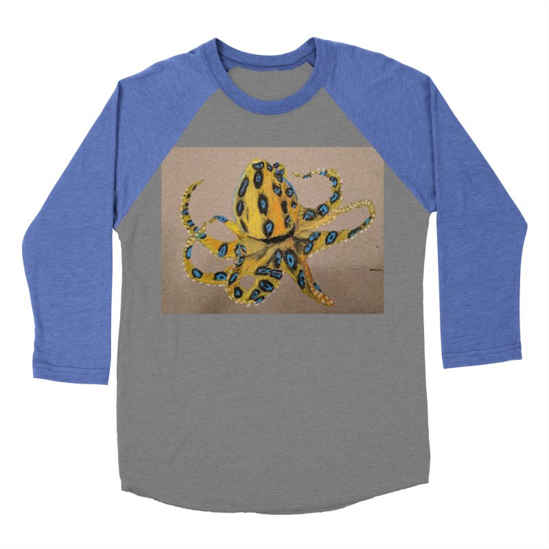 Blue-Ringed Octopus Men's Baseball Triblend T-Shirt by Whimsical Wildlife Wares