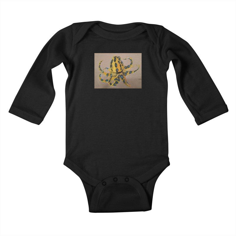 Blue-Ringed Octopus Kids Baby Longsleeve Bodysuit by Whimsical Wildlife Wares