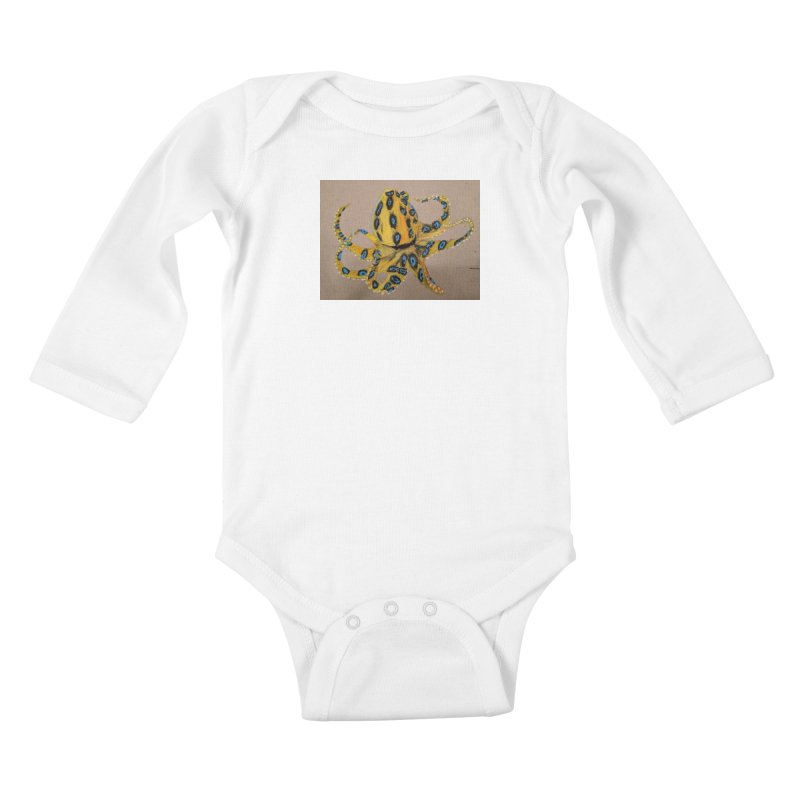 Blue-Ringed Octopus Kids Baby Longsleeve Bodysuit by Whimsical Wildlife Wares