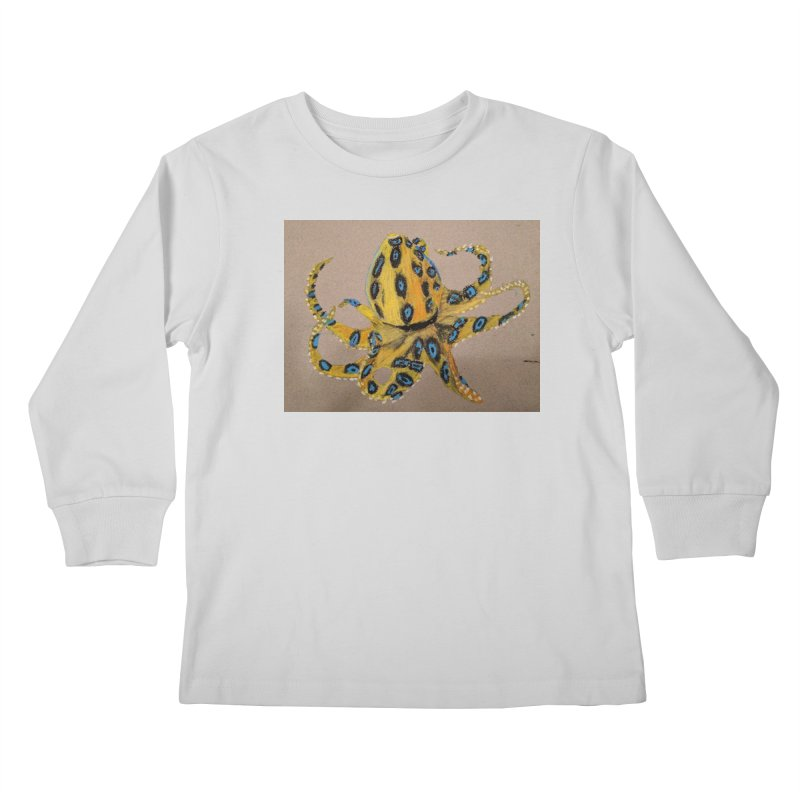 Blue-Ringed Octopus Kids Longsleeve T-Shirt by Whimsical Wildlife Wares