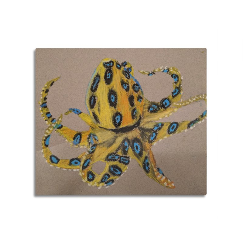 Blue-Ringed Octopus Home Mounted Aluminum Print by Whimsical Wildlife Wares