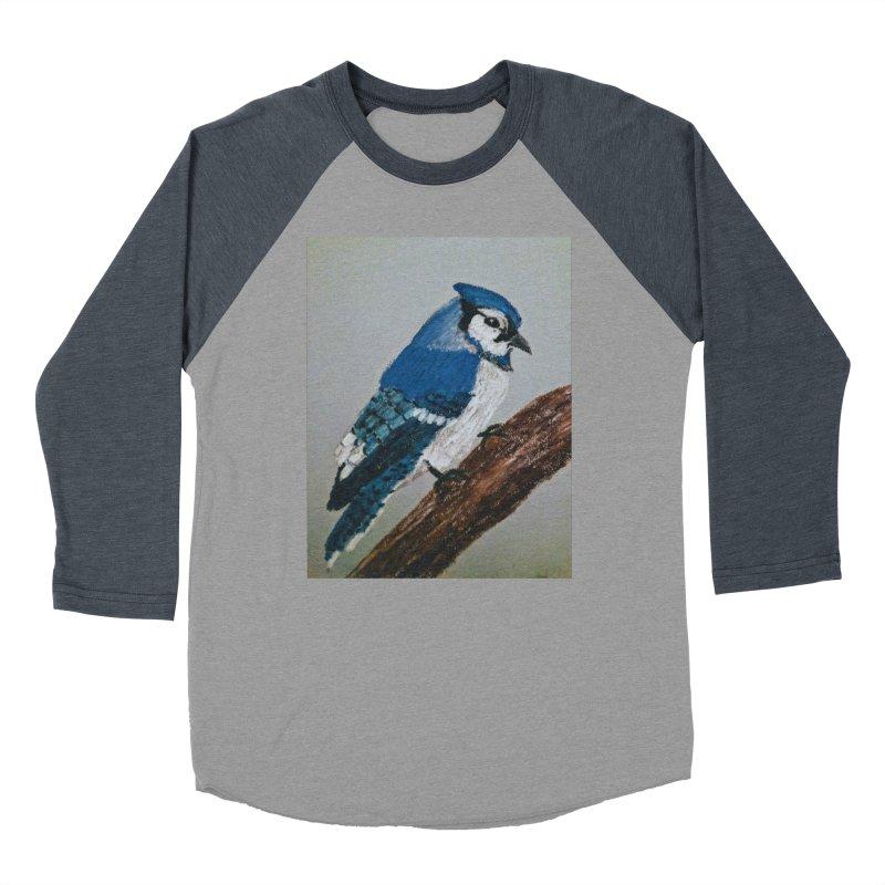 Blue Jay Men's Baseball Triblend T-Shirt by Whimsical Wildlife Wares