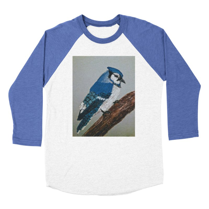 Blue Jay Men's Baseball Triblend T-Shirt by Whimsical Wildlife Wares
