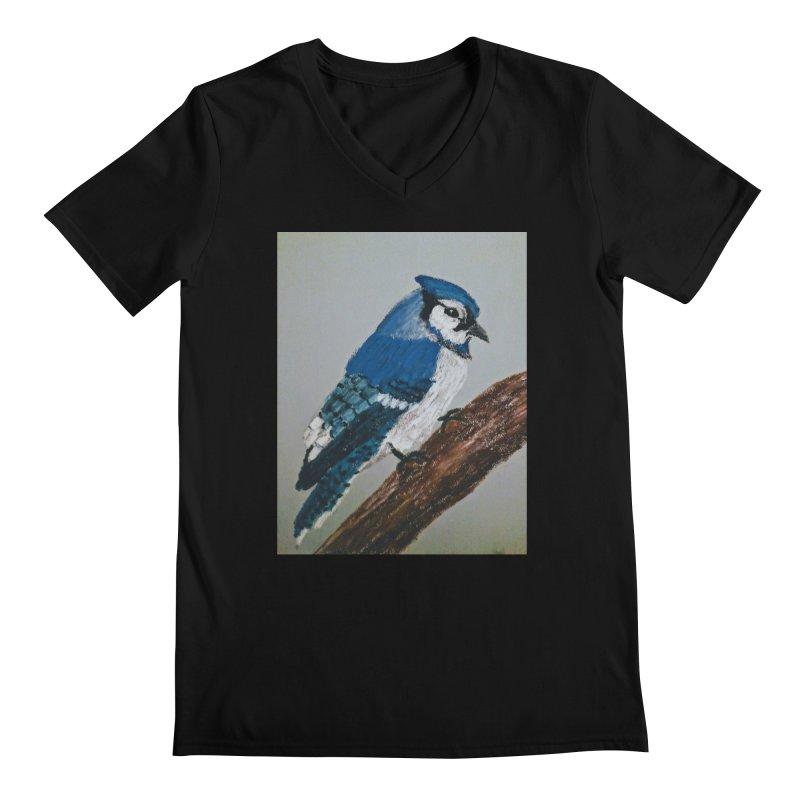 Blue Jay Men's V-Neck by Whimsical Wildlife Wares
